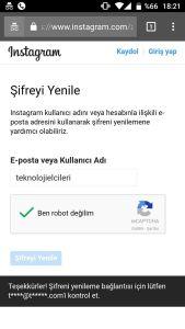 instagram şifremi unuttum e posta mail ile şifre sıfırlama