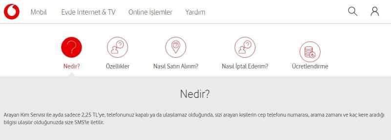 Vodafone Arayan Kim Servisi