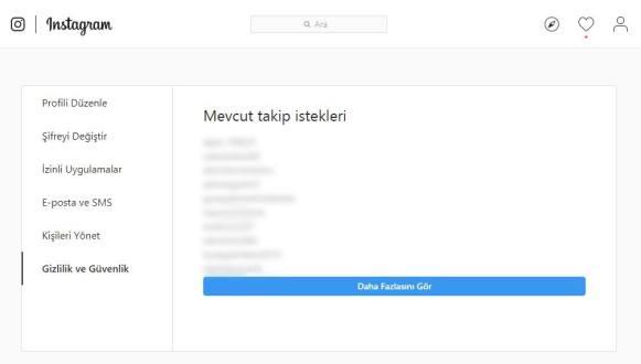 İnstagram Gönderilmiş Takip İsteklerini Listeme Linki