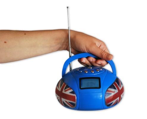 Mini Boombox Speaker Blue UK 3