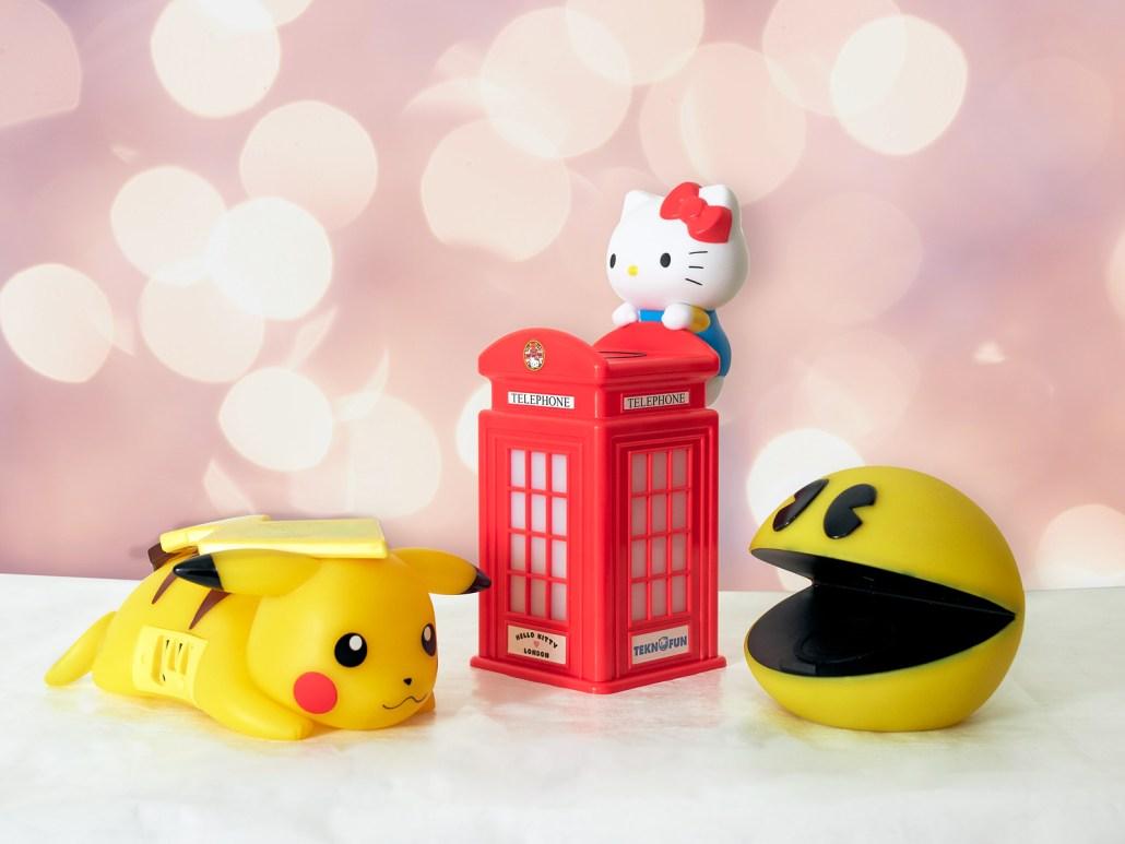 chargeurs sans fil Pokémon Pikachu, Hello Kitty et Pac-Man