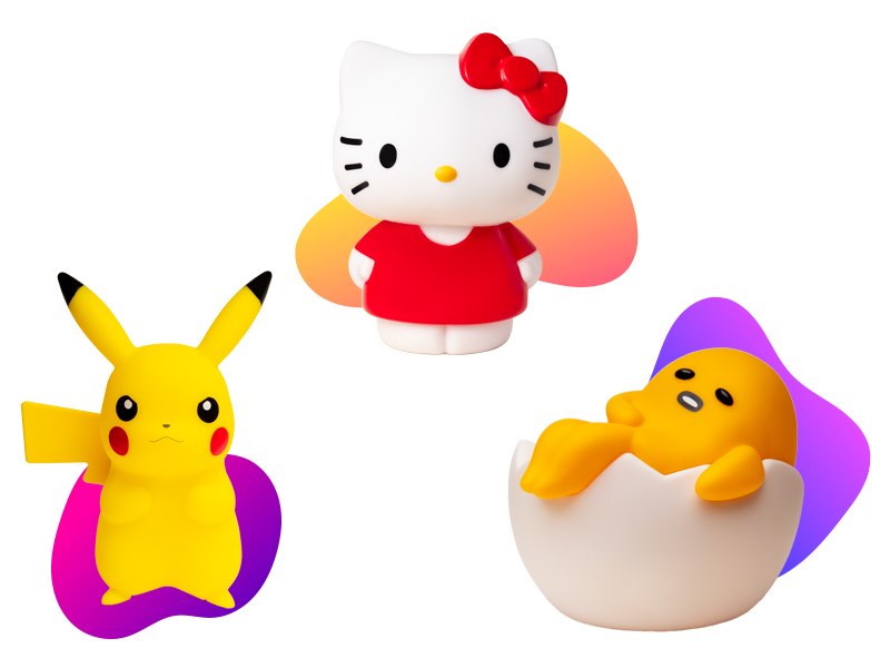 figurines lumineuses pikachu, hello kitty, gudetama