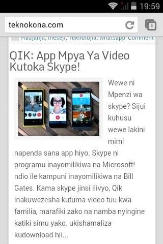 Mtandao wa TeknoKona ulifunguka kwa uzuri sana kupitia Chrome. Kupitia ubora wa Android Kit Kat suala la intaneti tegemea kiwango kizuri sana.
