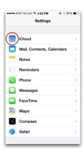 iCloud katika settings