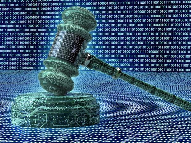 legal computer judge concept, cyber gavel,3D illustration