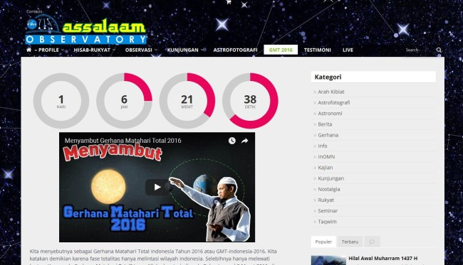 live streaming, assalaam observatory, gmt