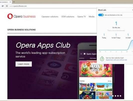 Opera, Fitur Blokir Iklan, Adblocker