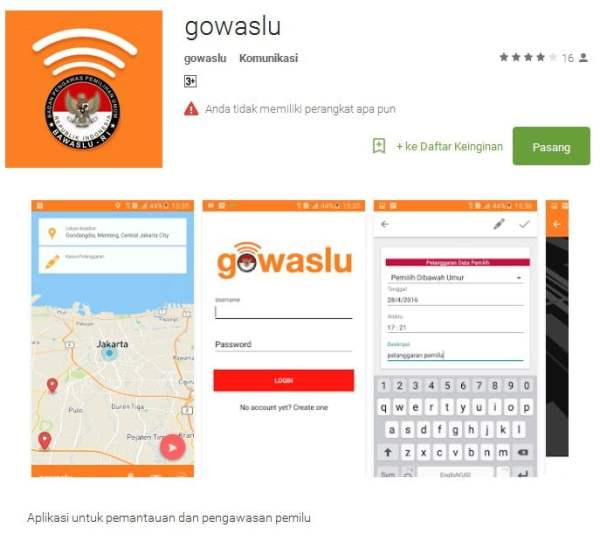 Aplikasi Gowaslu untuk pelapor masyarakat umum