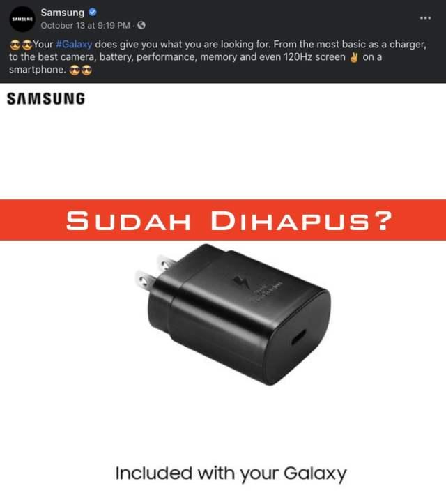 postingan Samsung tentang charger iphone 12