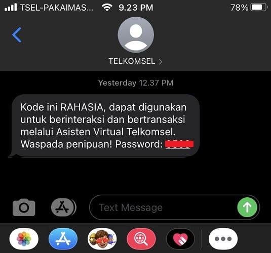 SMS OTP Verifikasi Tanya Veronika