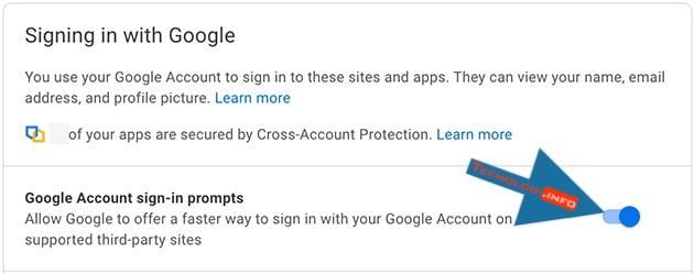 matikan saklar google masuk