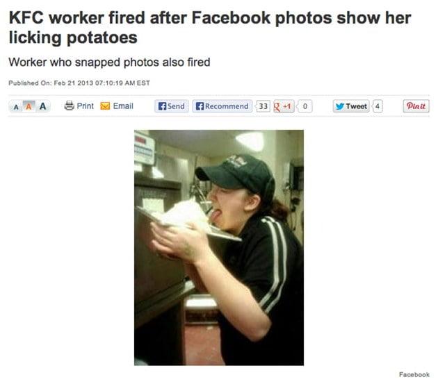 karyawan KFC dipecat karena foto menjilat kentang di media sosial