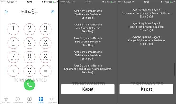 iPhone SMS, DATA BİLGİLENDİRME kodu