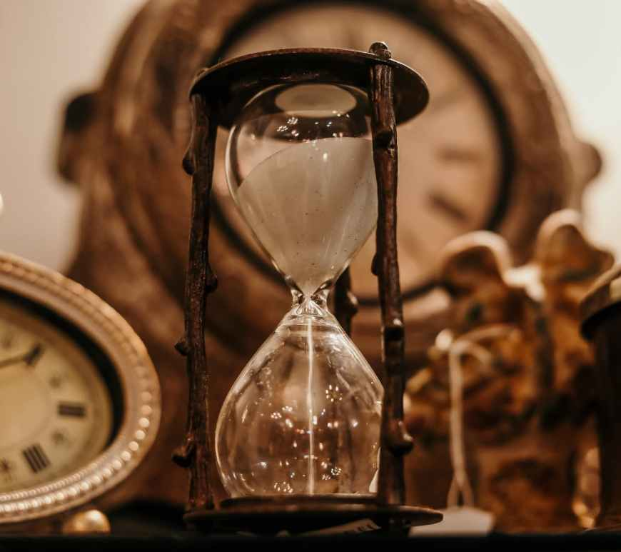 shallow focus of clear hourglass