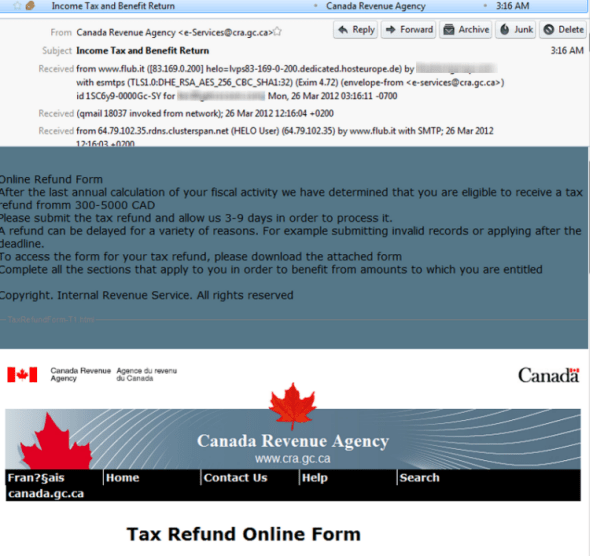 Canadian Tax Refund Phishing Scam Steals IRS Copyright! ~ TekSec