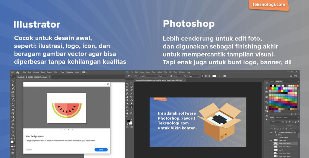 perbedaan photoshop dan illustrator