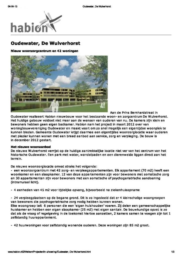 Webtekst Habion overbouwproject De Wulverhorst in Oudewater