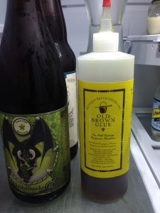 Liquid hide glue. Yes, it is in the fridge - it will last longer this way.