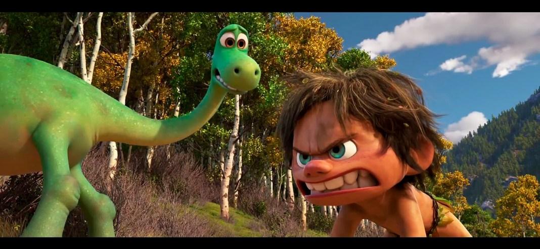 Imagen de un dinosaurio y un niño