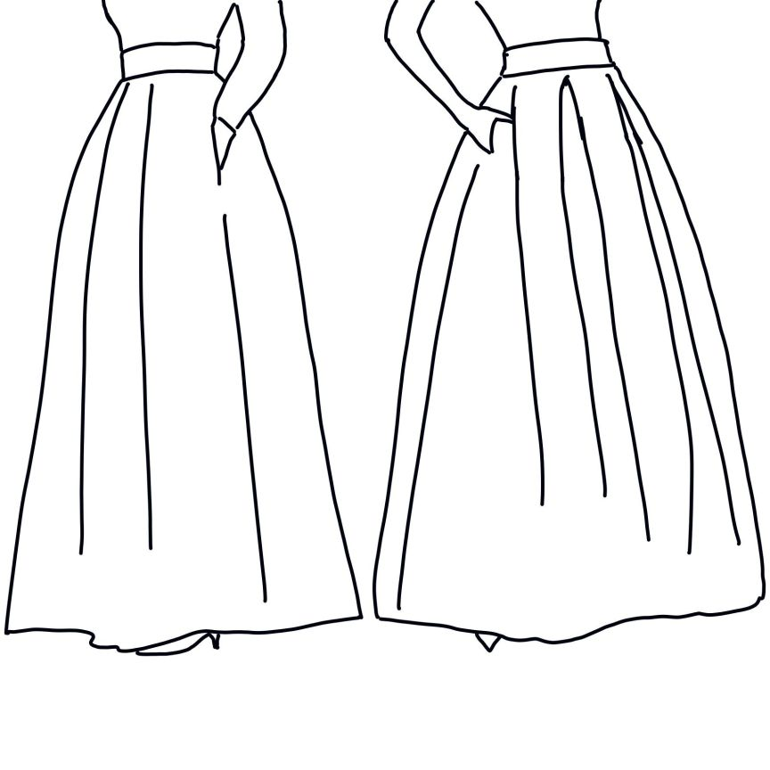 falda larga de gala