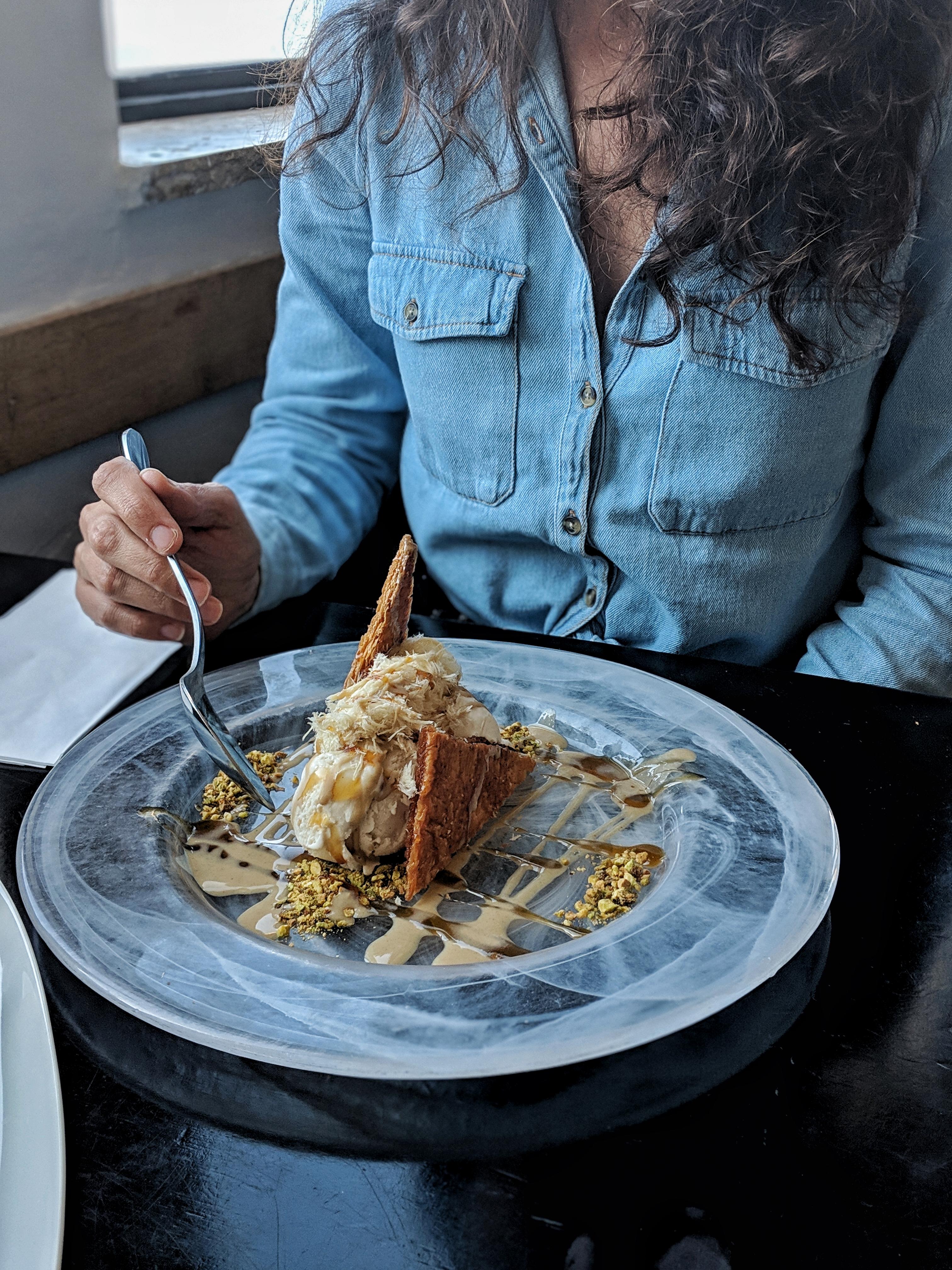 helena restaurant at Caesarea harbour Tahini ice cream