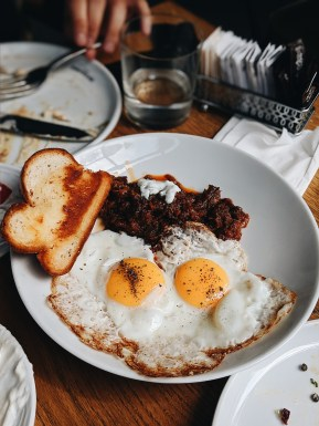Eggplant Sofrito with fried eggs