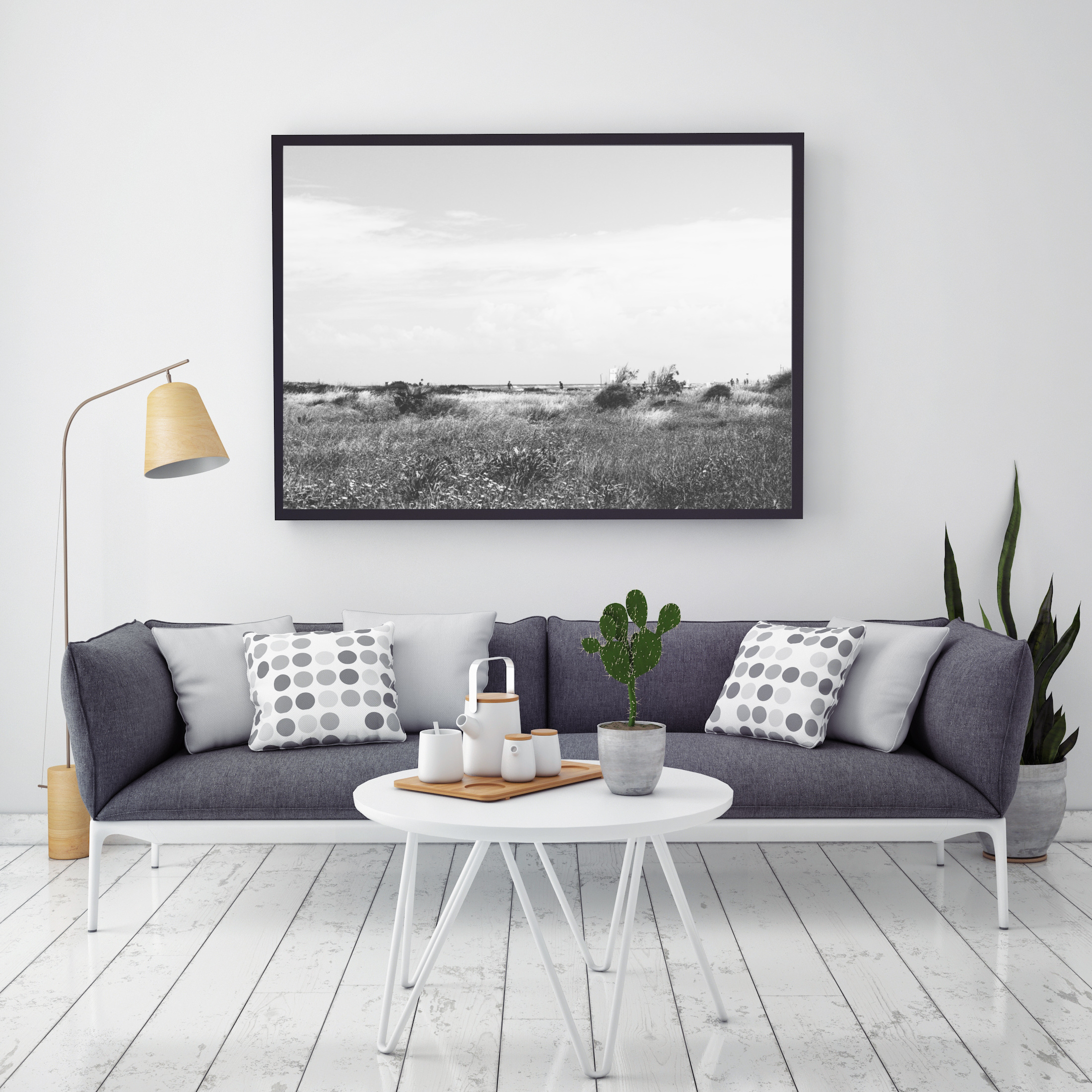 black and white field wall print