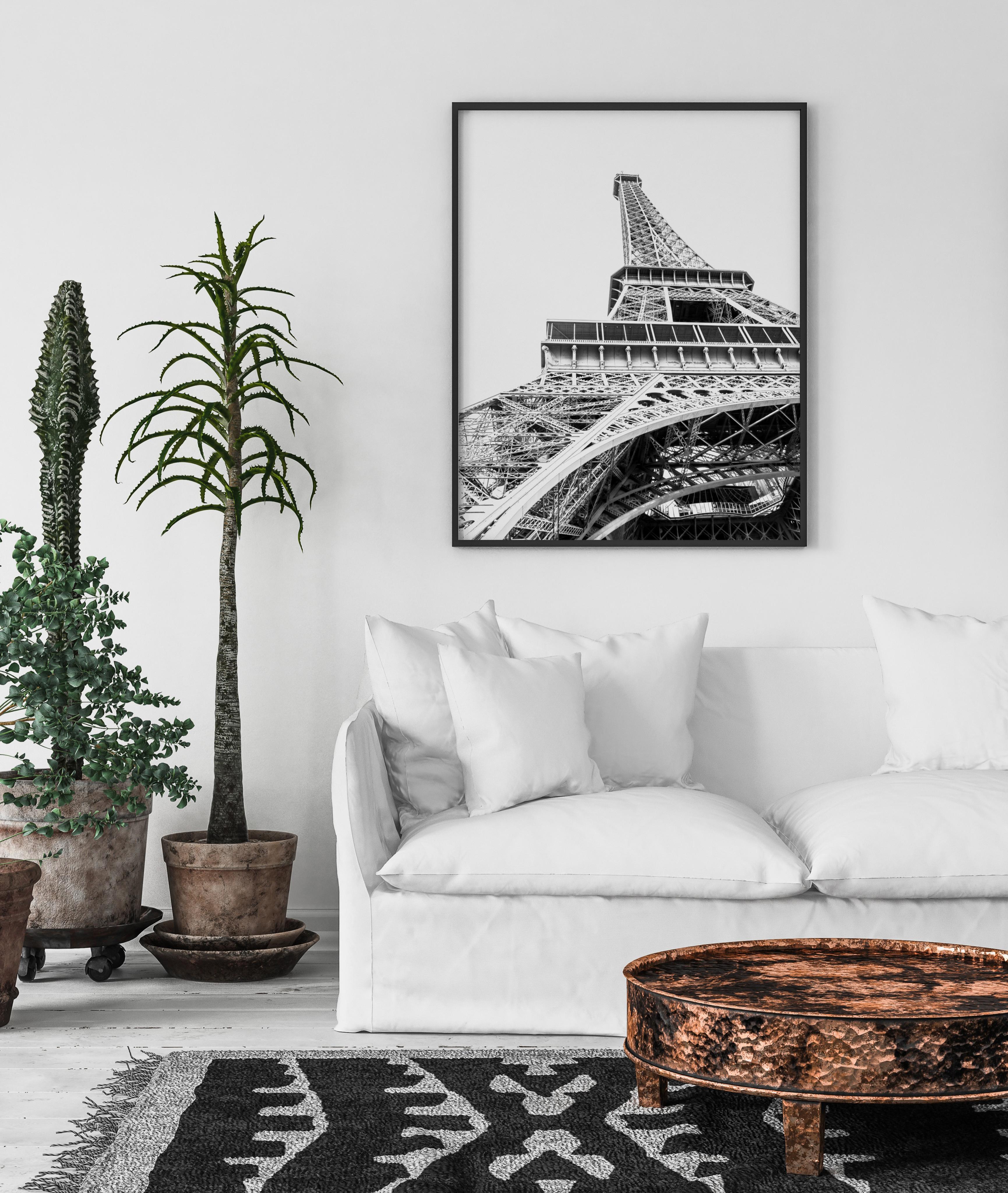 eiffel tower black white wall print