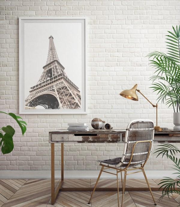 bottom view Eiffel tower wall print