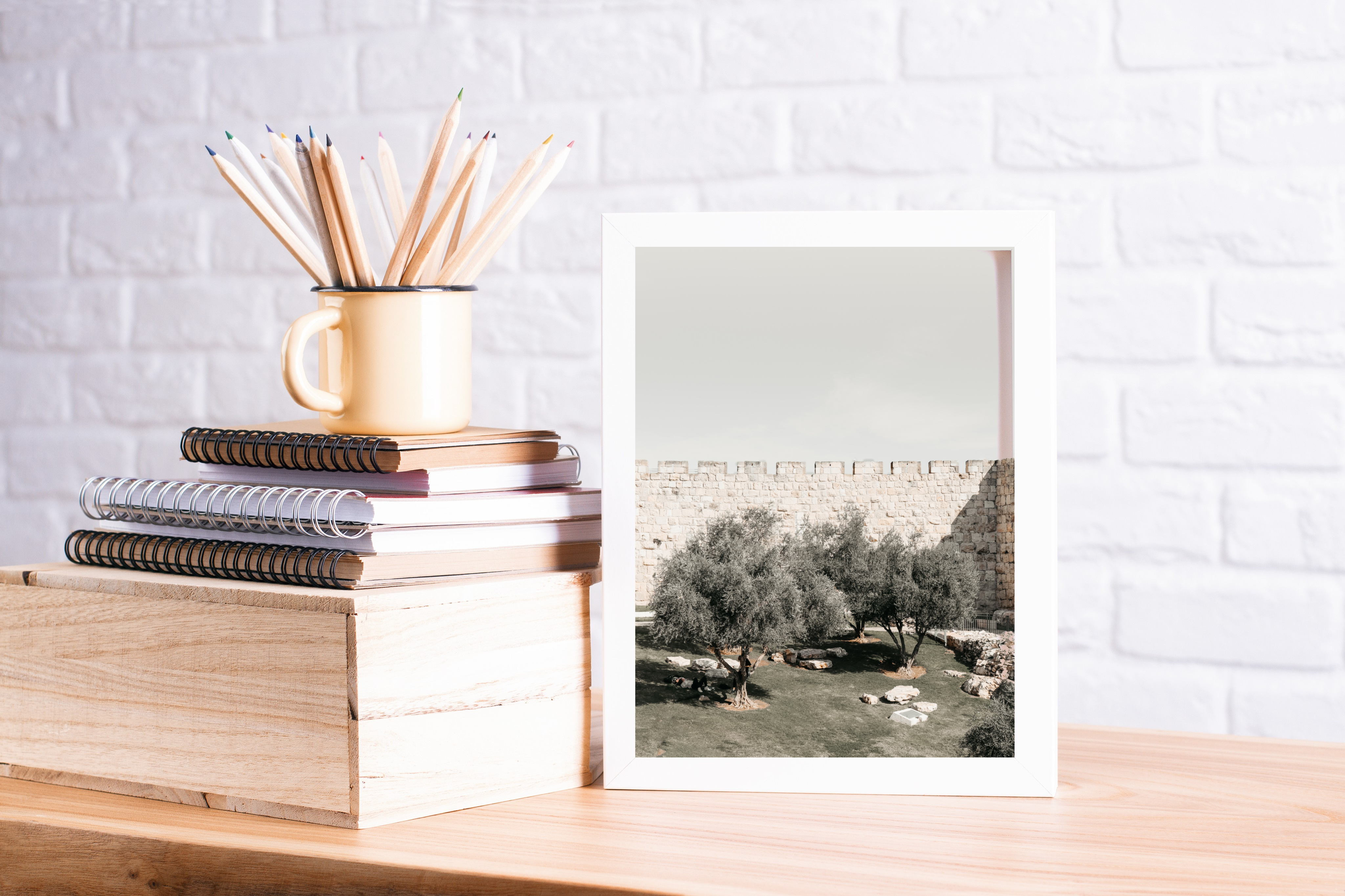 jerusalem wall olive trees print