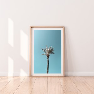 one palm tree blue sky tel aviv wall print