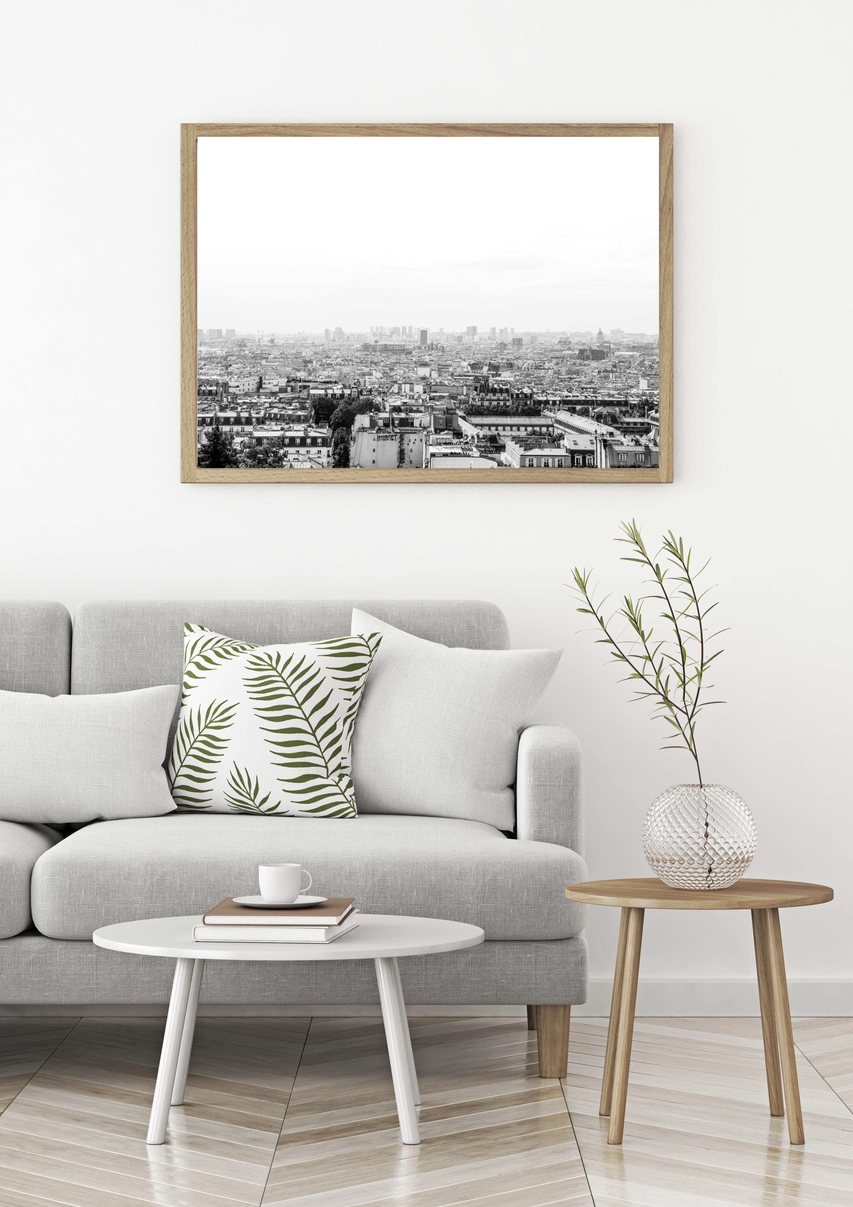 paris skyline black white wall print