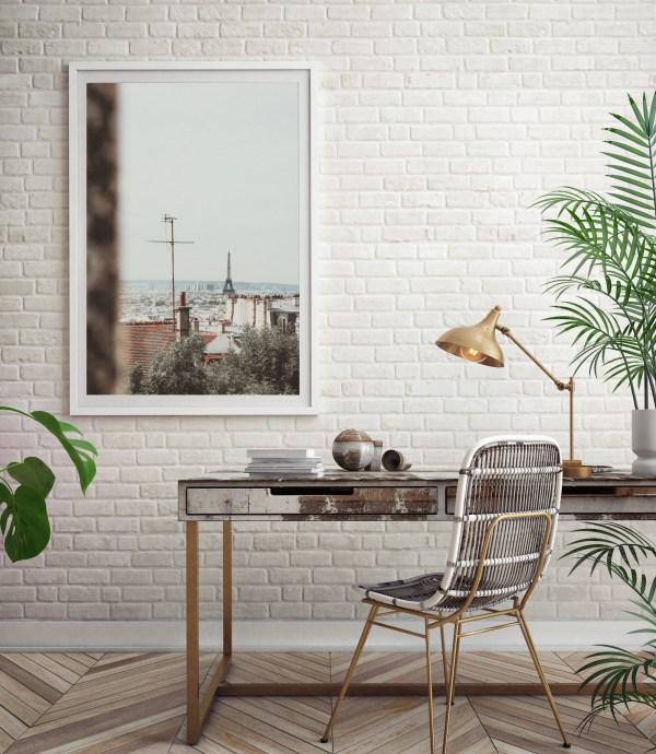 paris skyline eiffel tower wall print
