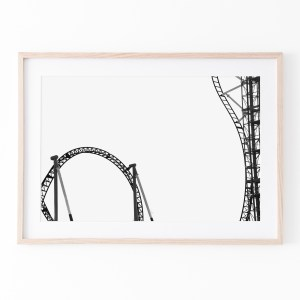 roller coaster black white wall print