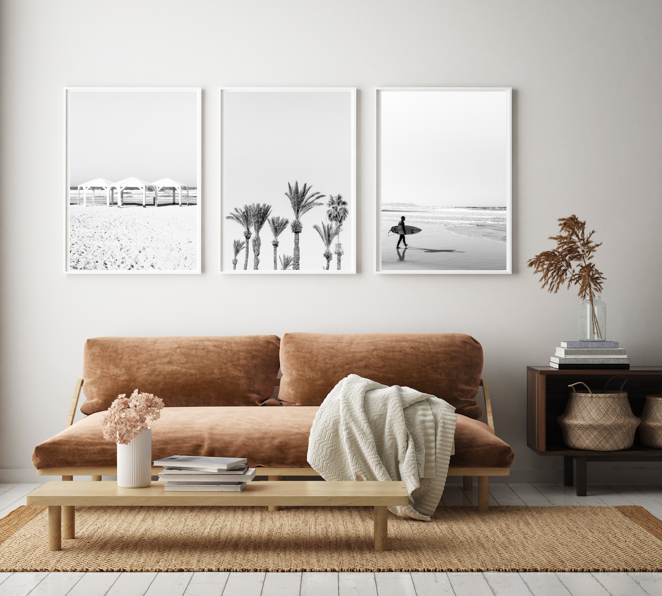 set of 3 wall prints tel aviv black and white beach