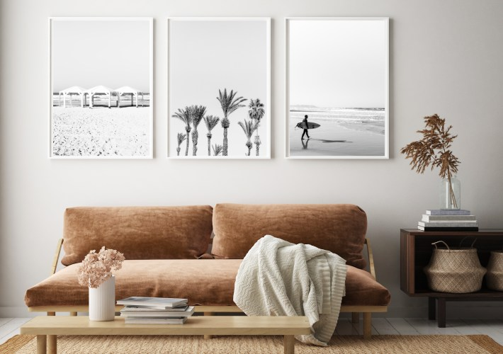 set of 3 wall prints tel aviv black and white beach