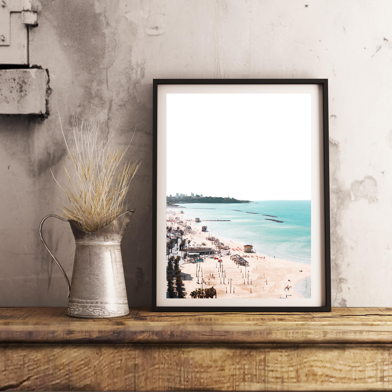 tel aviv beach high contrast wall print