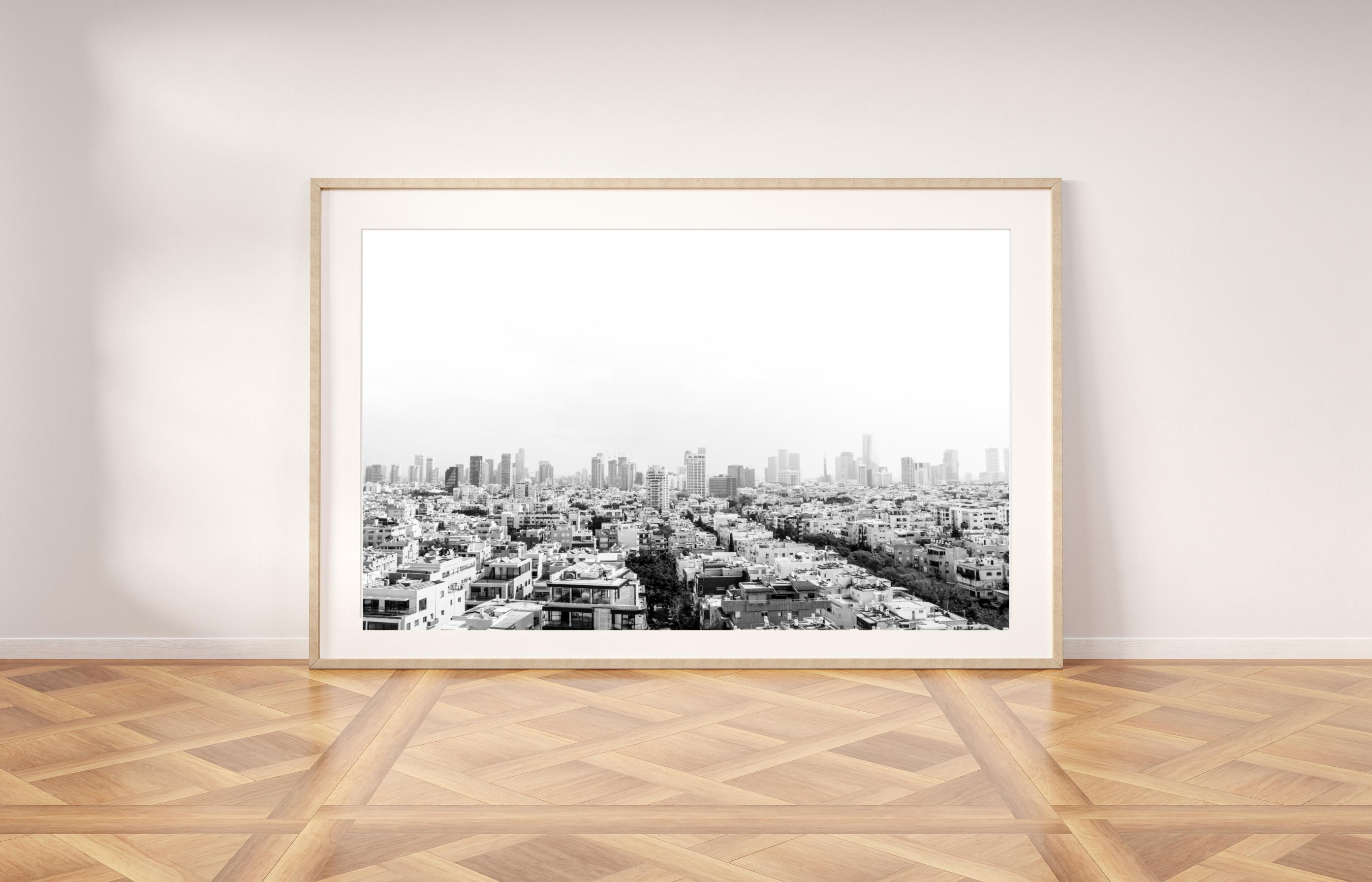 tel aviv black and white skyline wall print