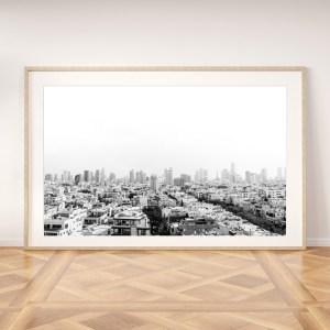tel aviv black and white skyline wall print