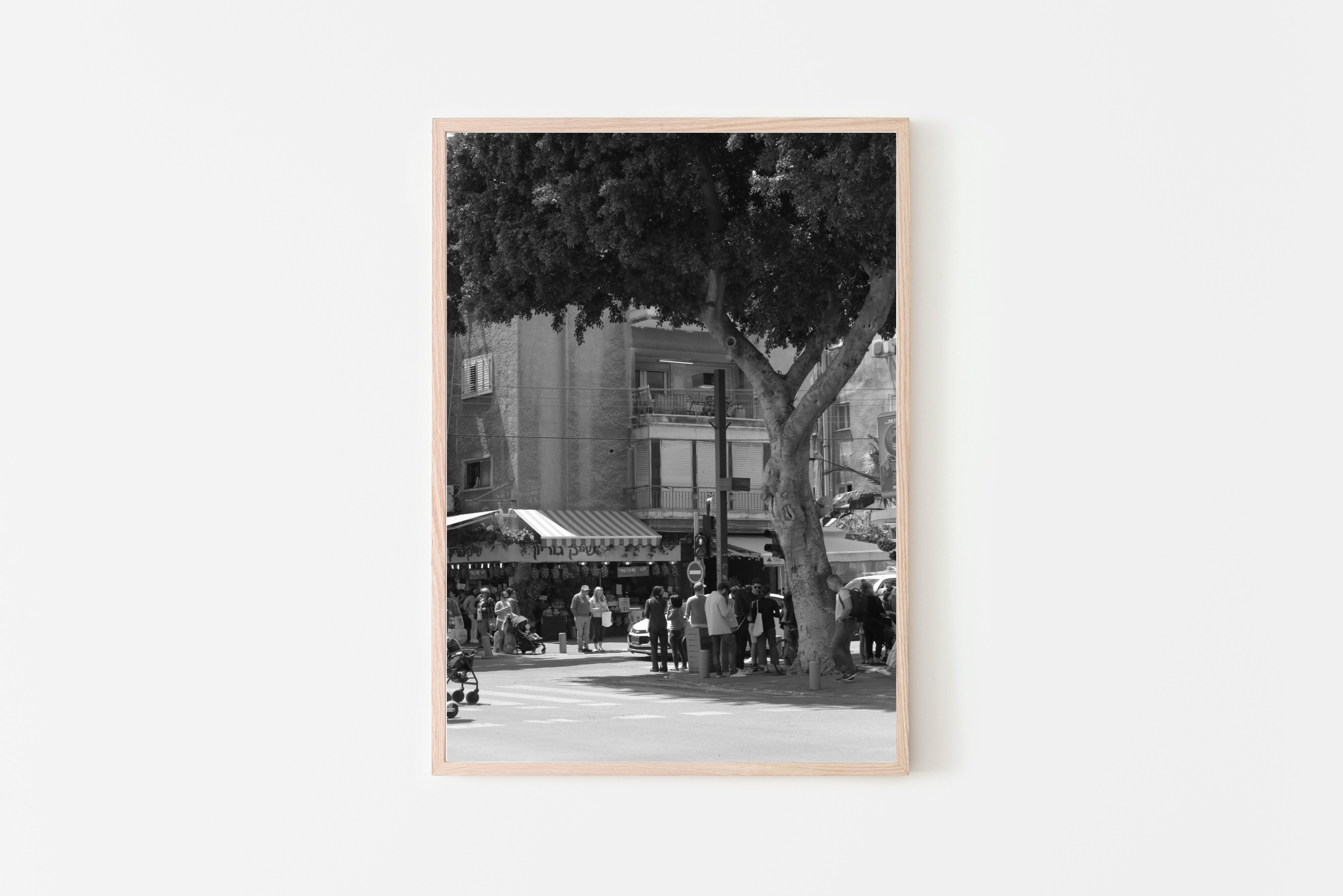 black and white streets of tel aviv wall print