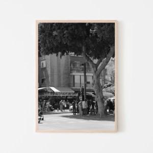 black and white streets of tel aviv wall print