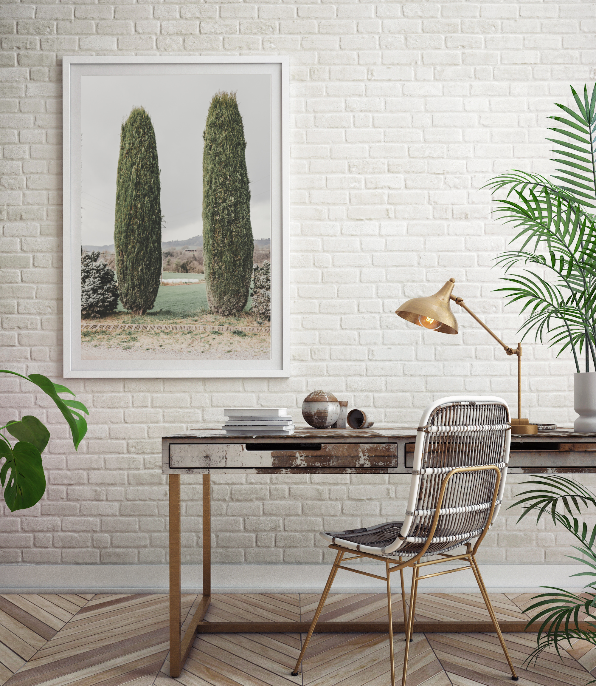 two cypress tree spain print