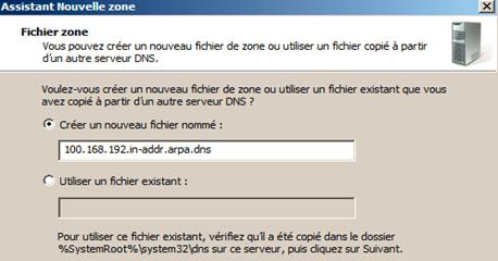 donnez un nom au fichier qui contiendra la zone DNS
