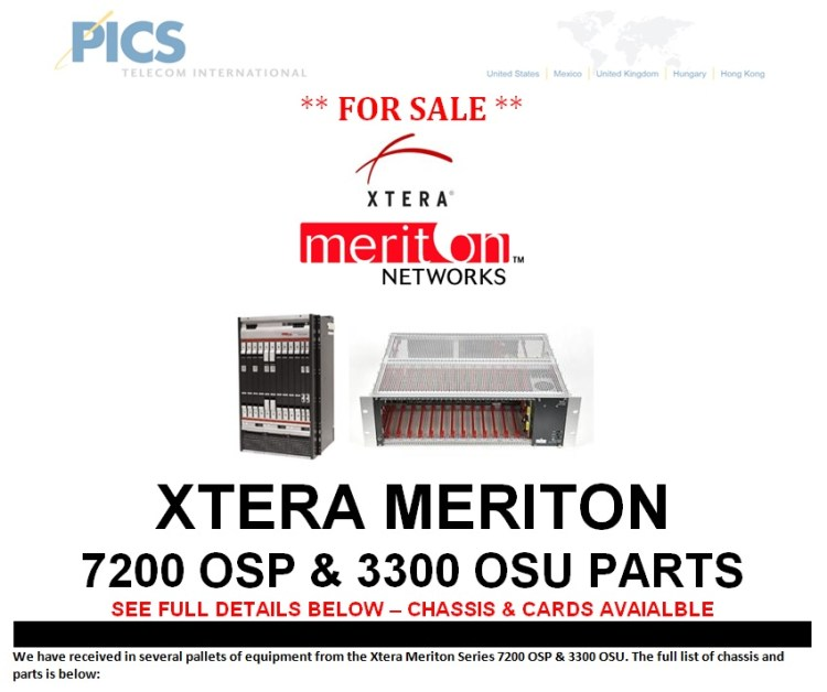 Xtera Meriton 7200 OSP & 3300 OSU Parts For Sale Top