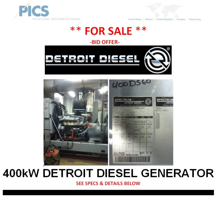 Detroit Diesel 400kW Generator For Sale Top (1.14.14)