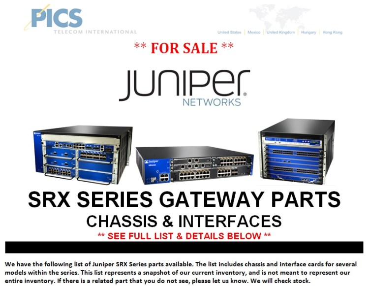 Juniper SRX Series Parts For Sale Top (1.29.14)