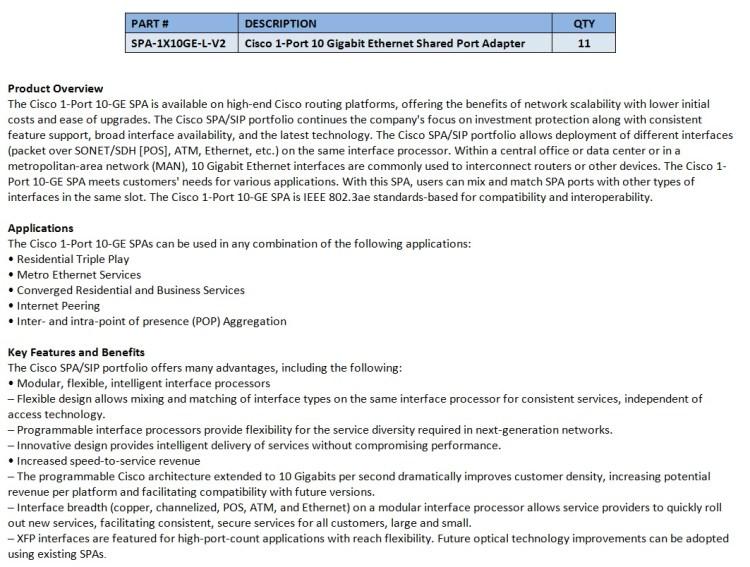 Cisco SPA-1X10GE-L-V2 For Sale Bottom (5.29.14)