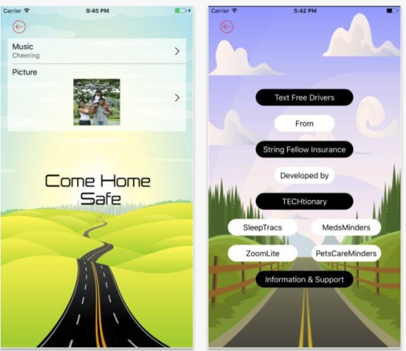 "Text Free Drivers ""Come Home Safe"" Distracted Driving App"