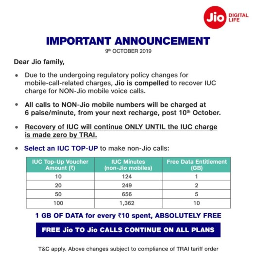 jio voice call charges