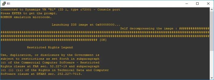 Inicialización de router sin descompresión de la imagen IOS